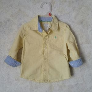 🔥9m Carter's pastel yellow button down shirt